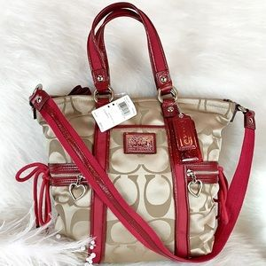 COACH F20101 KHAKI RED DAISY SIGNATURE POCKET TOTE